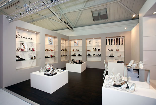 A custom built exhibition stand for Bourne Shoes