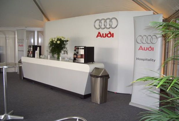 A custom built display stand for Audi