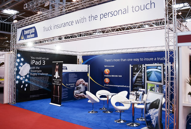 Towergate Insurance using lighting gantry to build their exhibition stand