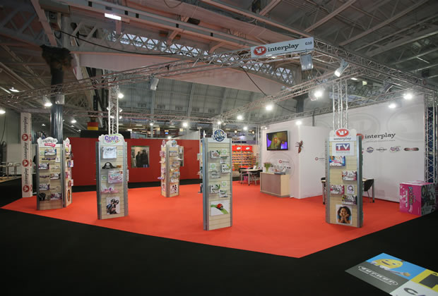 Interplay using lighting gantry to build their exhibition stand