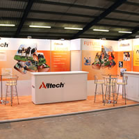 An exhibition stand created from Tension Fabric for AllTech