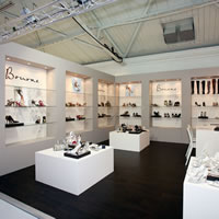 A colonnade exhibition stand for Bourne Shoes