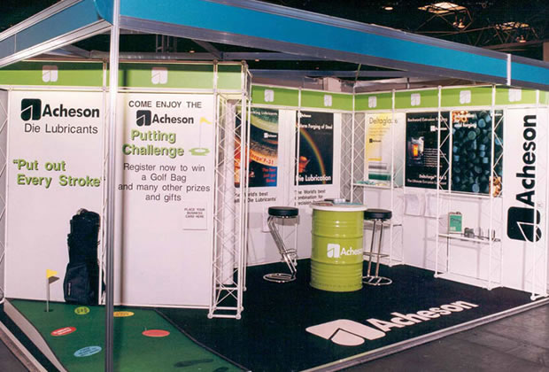 A shell scheme interior for Acheson Exhibition Stand