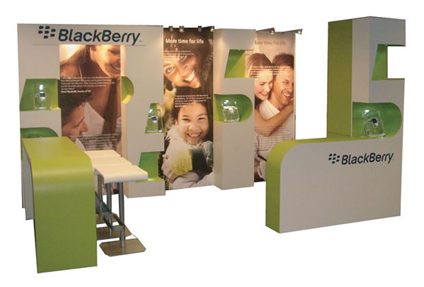 A shell scheme interior for Blackberry Exhibition Stand