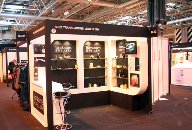 A shell scheme interior for Translations Jewellery Exhibition Stand
