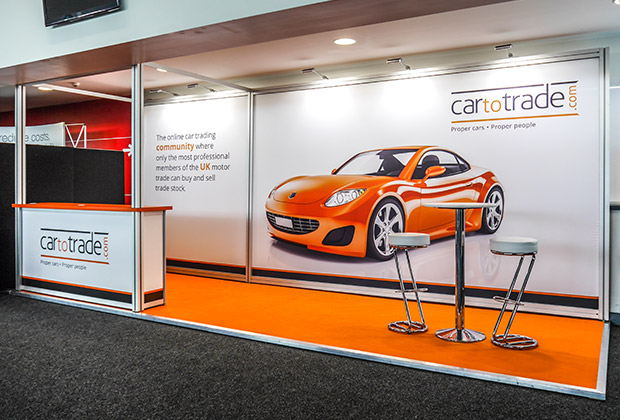 Car to Trade using tension fabric for their exhibition stand