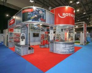 A modular exhibition stand for Rothenburger at Installer Live exhibition at the RICOH Arena, Coventry.