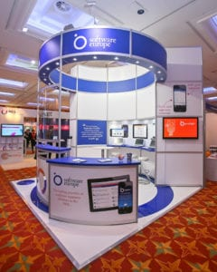 An Octanorm system style exhibition stand for Software Europe at the HMFA Conference, London.