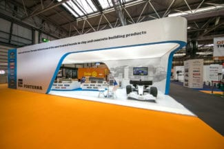 A traditional exhibition stand with gravity defying cantilever.