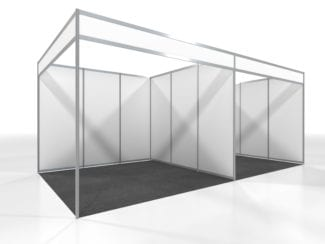 A typical aluminium shell scheme exhibition stand.